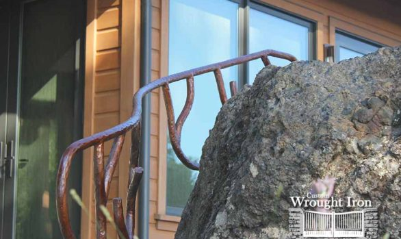 Railing built around a rock