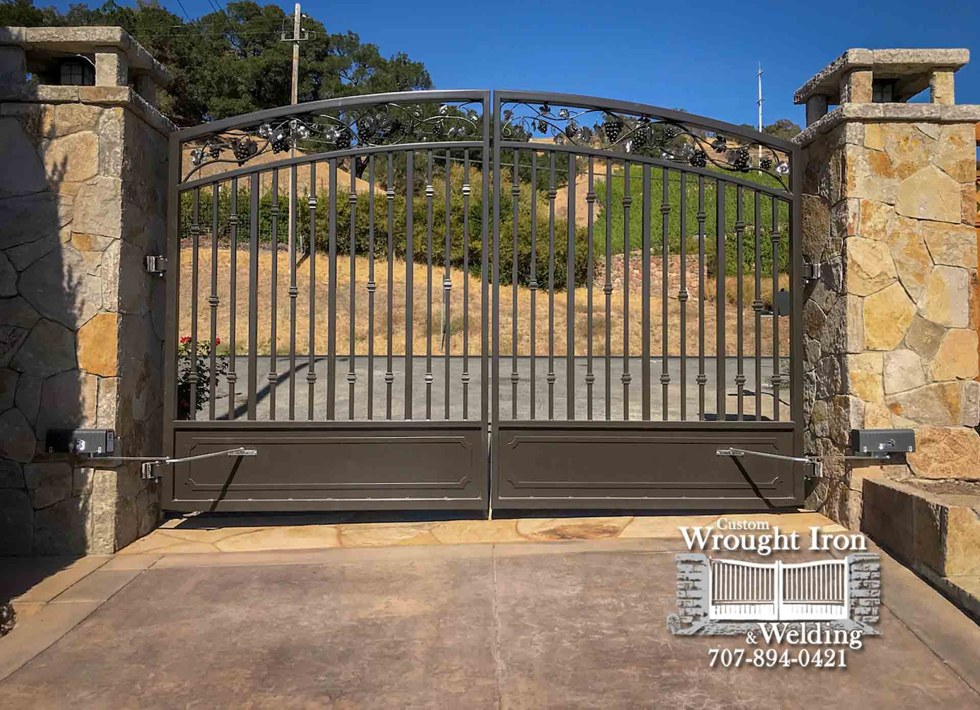Napa Driveway Gate with Hand Forged Grapes